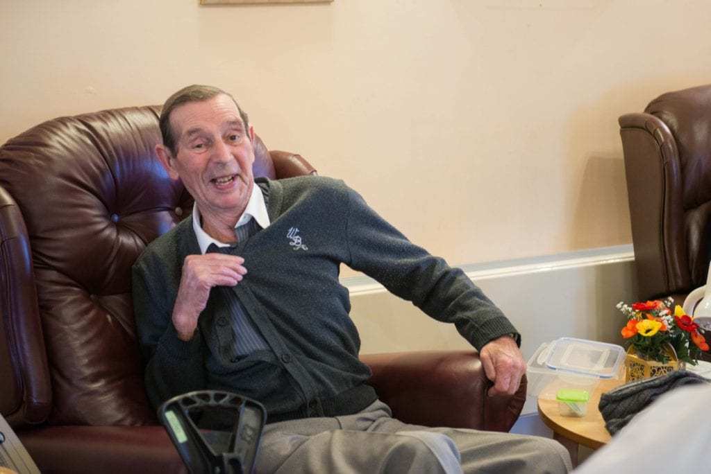 Frank Burns (patient) proudly wearing his WBA cardigan
